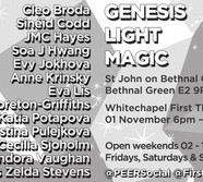 GENESIS –LIGHT–MAGIC, Belfry Exhibition, 1-18 November